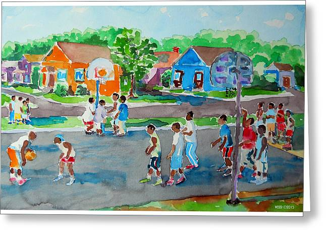 Basketball Team Paintings Greeting Cards - Hoop Days Greeting Card by Dennis Weiser
