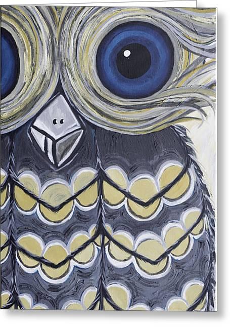 Chevron Owl Greeting Cards - Hoot Hoot Greeting Card by Sarah  Jewett