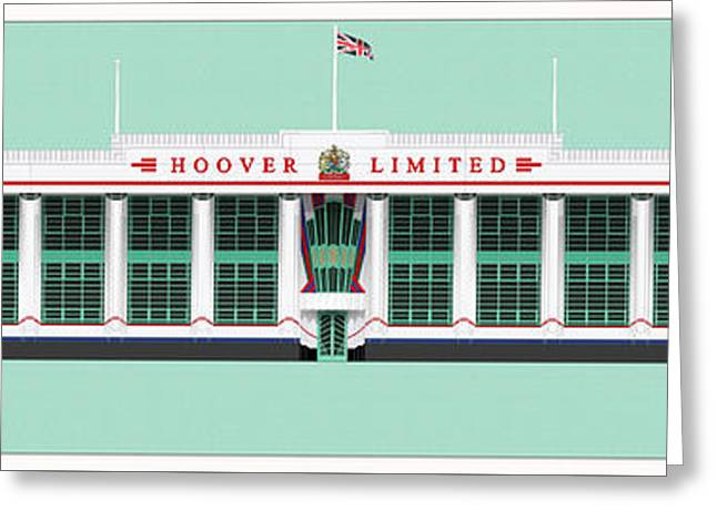 White Drawings Greeting Cards - Hoover Building London Greeting Card by Justin Fagence