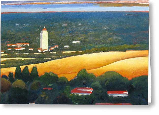 Hoover Tower From Hills Greeting Card by Gary Coleman