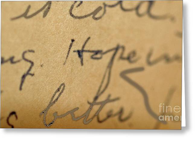 Love Letter Greeting Cards - Hope Vintage Script Art Print Greeting Card by ArtyZen Studios
