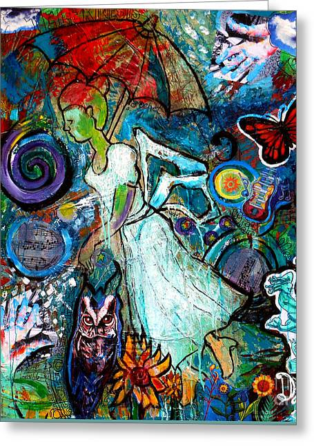 Abstract Owl Greeting Cards - Hope Floats Greeting Card by Genevieve Esson