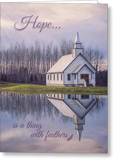 Hope Is A Thing With Feathers - Inspirational Art Greeting Card by Jordan Blackstone