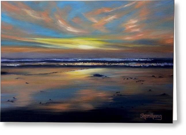 California Beach Greeting Cards - San Diego Sunset Greeting Card by Sherri Huang