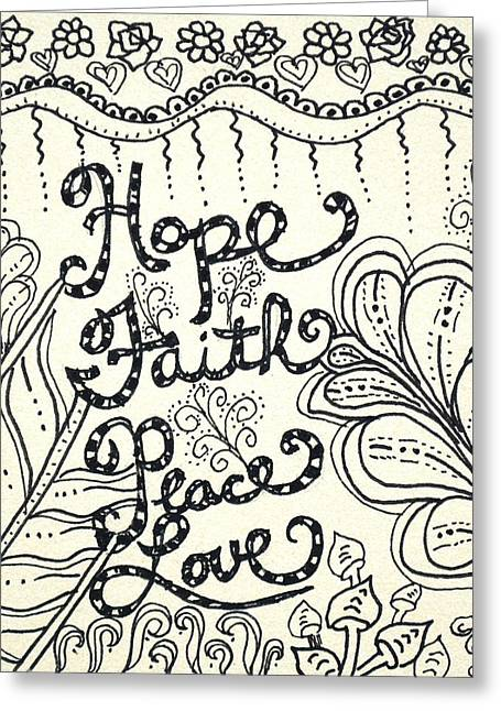 Pen And Ink Drawing Greeting Cards - Hope Greeting Card by The Sandwich  Woman