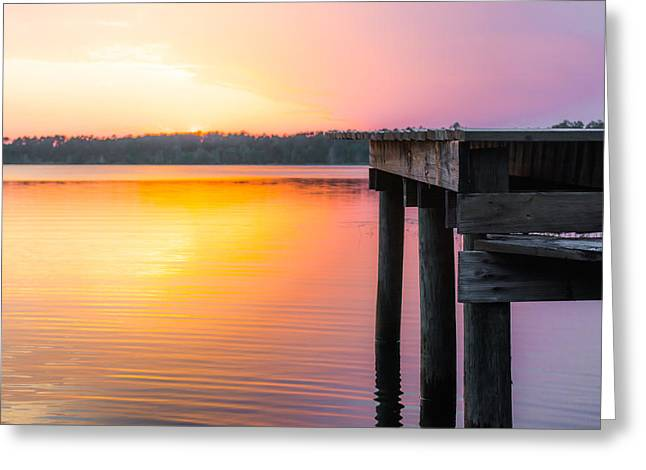 Wooden Dock Greeting Cards - Hopeful Colors Greeting Card by Shelby  Young