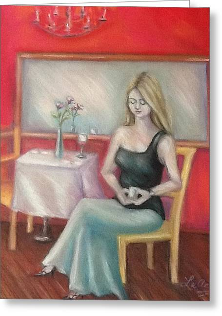 Young Lady Pastels Greeting Cards - Hopeful waiting Greeting Card by Luanne Rozran