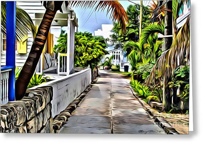 Quaint Digital Greeting Cards - Hopetown backstreet Greeting Card by Carey Chen
