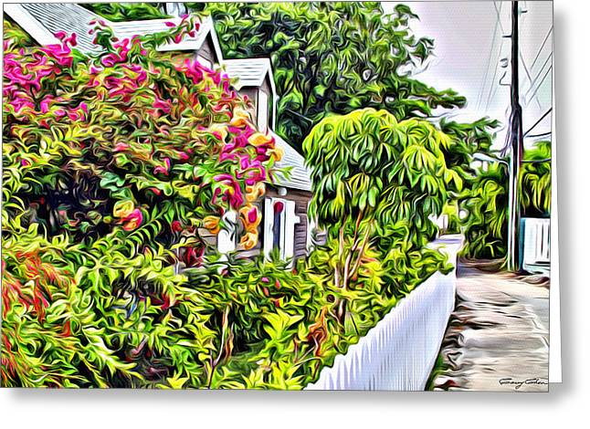 Bamboo Fence Digital Greeting Cards - Hopetown Gardens Greeting Card by Anthony C Chen