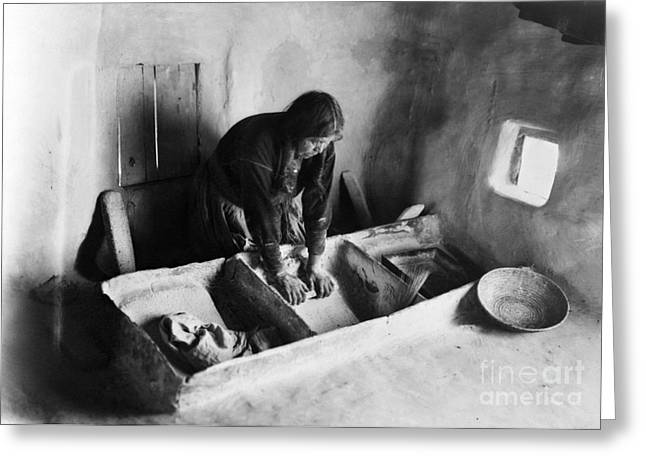 Early American Dwellings Greeting Cards - HOPI: GRINDING CORN, c1911 Greeting Card by Granger