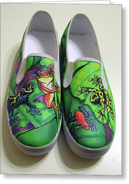 Sneakers Paintings Greeting Cards - Hoppy Shoes Greeting Card by Adam Johnson