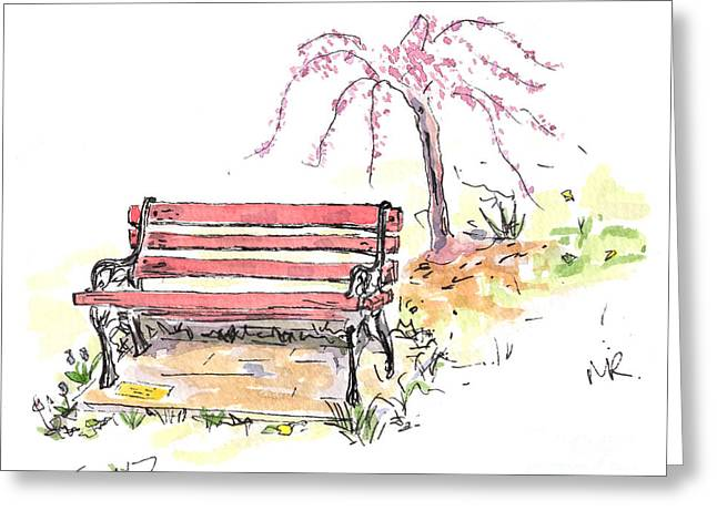 Recently Sold -  - Michelle Greeting Cards - Horace Pippins Bench Greeting Card by Michelle Reeve