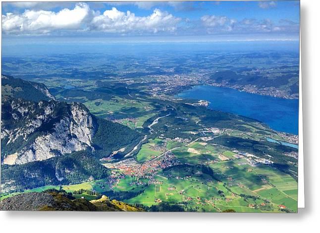 Swiss Photographs Greeting Cards - Horizon  Greeting Card by Elisabeth Scherrer