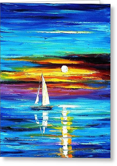 Recently Sold -  - Popular Art Greeting Cards - Horizon - PALETTE KNIFE Oil Painting On Canvas By Leonid Afremov Greeting Card by Leonid Afremov