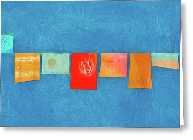 Horizontal String Of Colorful Prayer Flags 1 Greeting Card by Carol Leigh