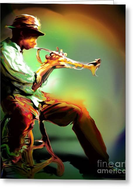 Horn Player II Greeting Card by Mike Massengale