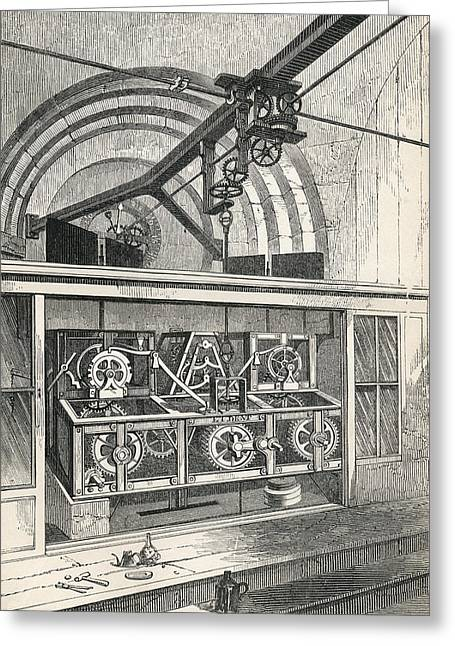 Mechanism Drawings Greeting Cards - Horology. Working Parts Of The Clock At Greeting Card by Vintage Design Pics