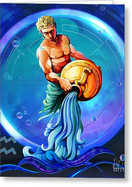 Horoscope Signs-aquarius Greeting Card by Bedros Awak