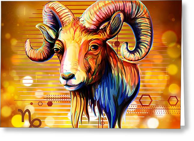 Horoscope Signs-capricorn Greeting Card by Bedros Awak