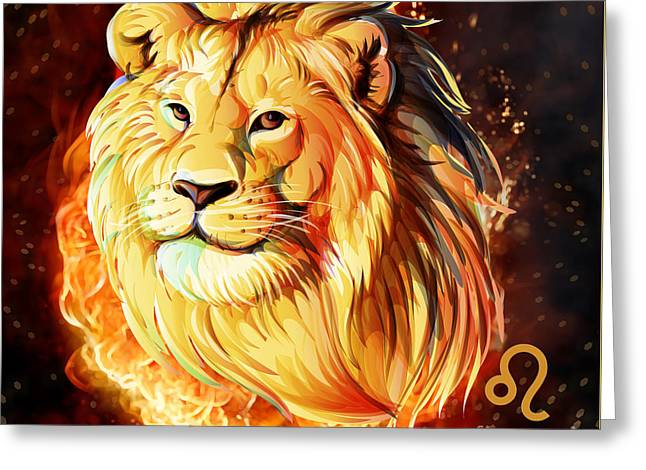 Horoscope Signs-leo Greeting Card by Bedros Awak
