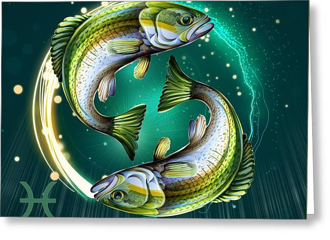 Horoscope Signs-pisces Greeting Card by Bedros Awak
