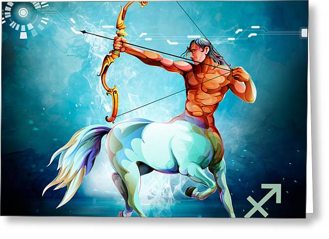 Horoscope Signs-sagittarius Greeting Card by Bedros Awak