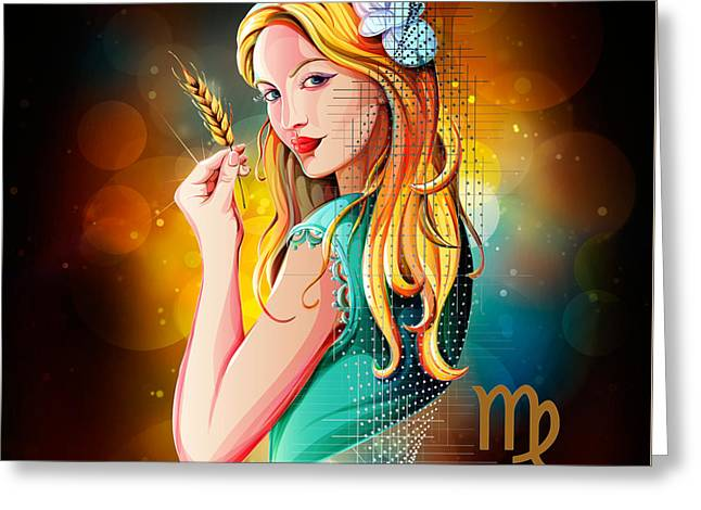 Horoscope Signs-virgo Greeting Card by Bedros Awak