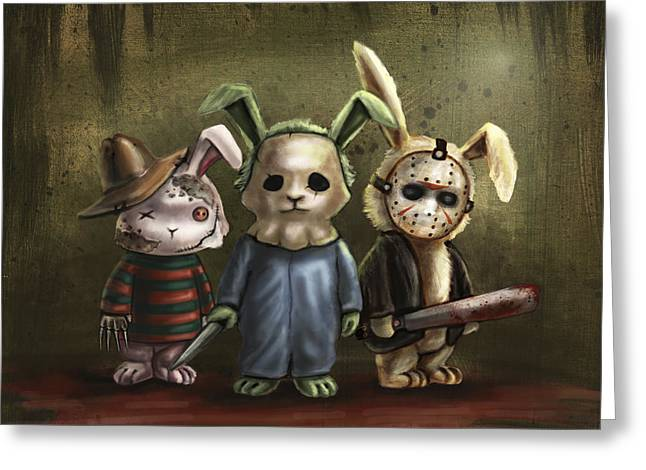 Jason Voorhees Greeting Cards - Horror Bunnies Greeting Card by Diana Levin
