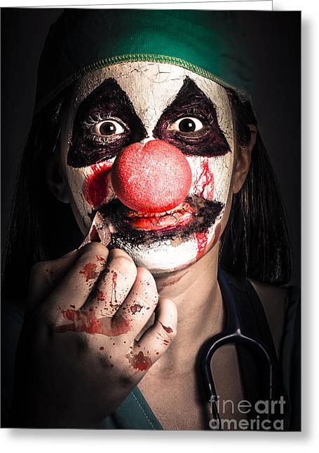 Discrimination Photographs Greeting Cards - Horror clown girl in silence with stitched lips Greeting Card by Ryan Jorgensen