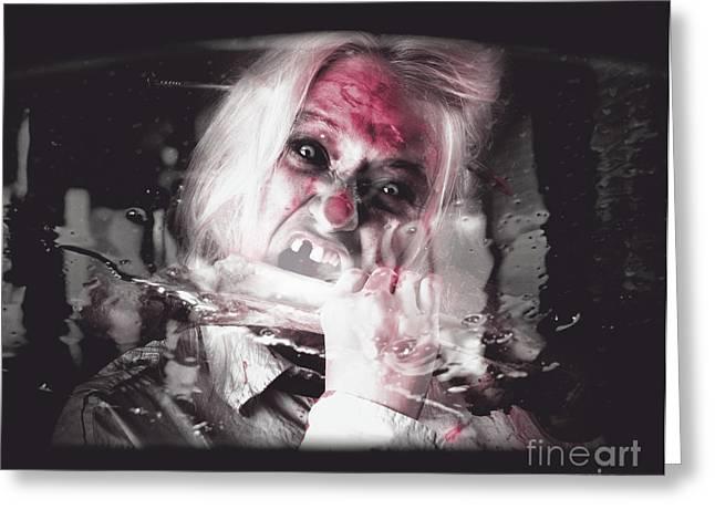 Horror Car Greeting Cards - Horror fast food. Drive thru zombie apocalypse Greeting Card by Ryan Jorgensen