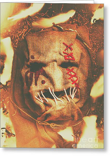 Horror Scarecrow Portrait Greeting Card by Jorgo Photography - Wall Art Gallery