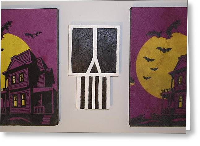 Moon With Bats Greeting Cards - Horror stories Greeting Card by William Douglas