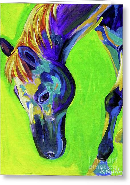 Horse - Green Greeting Card by Alicia VanNoy Call