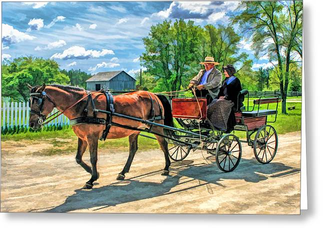 Bygone Greeting Cards - Horse and Buggy at Old World Wisconsin Greeting Card by Christopher Arndt