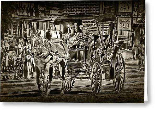 Horse And Buggy Greeting Card by Randall Nyhof
