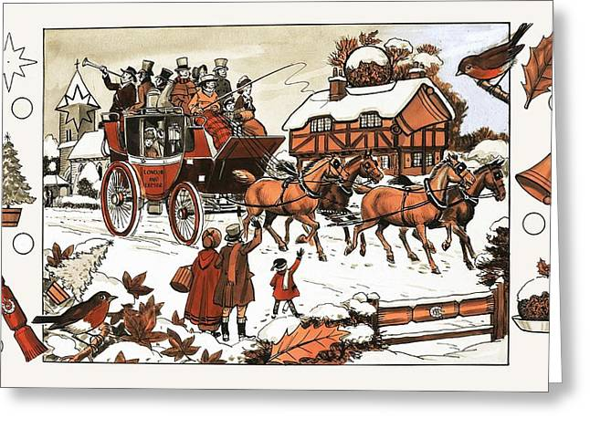 Horse Whip Greeting Cards - Horse and carriage in the snow Greeting Card by English School