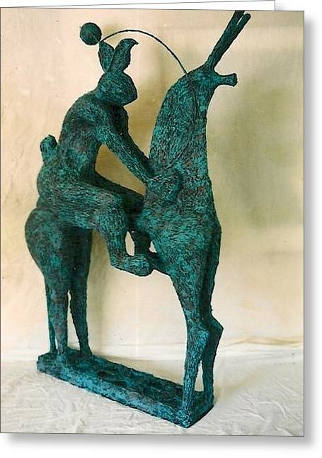 Flowing Sculptures Greeting Cards - Horse and Hare Greeting Card by Al Goldfarb