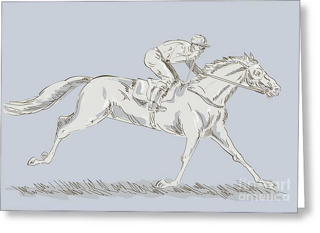 Horse and jockey Greeting Card by Aloysius Patrimonio