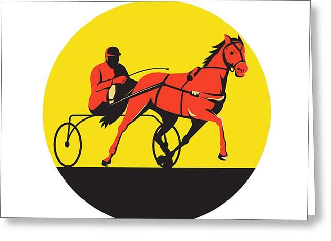 Harness Racing Greeting Cards - Horse and Jockey Harness Racing Circle Retro Greeting Card by Aloysius Patrimonio