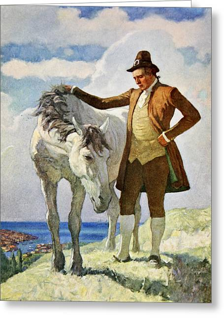 Horse And Owner Greeting Card by Newell Convers Wyeth