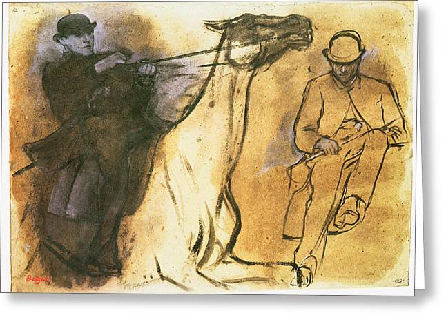 Horse And Riders Greeting Cards - Horse and Rider Greeting Card by Edgar Degas