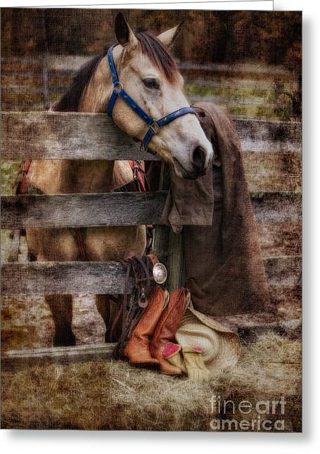 Hay Bales Greeting Cards - Horse and Tack Greeting Card by Jerry Fornarotto