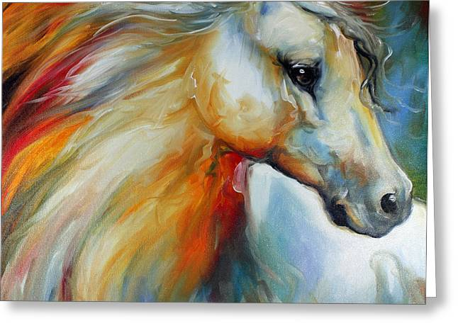 Marcia Greeting Cards - Horse Angel No 1 Greeting Card by Marcia Baldwin