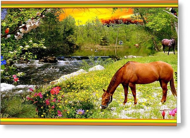 Stream Digital Art Greeting Cards - Horse at Beckman Stream Greeting Card by Austin Torney