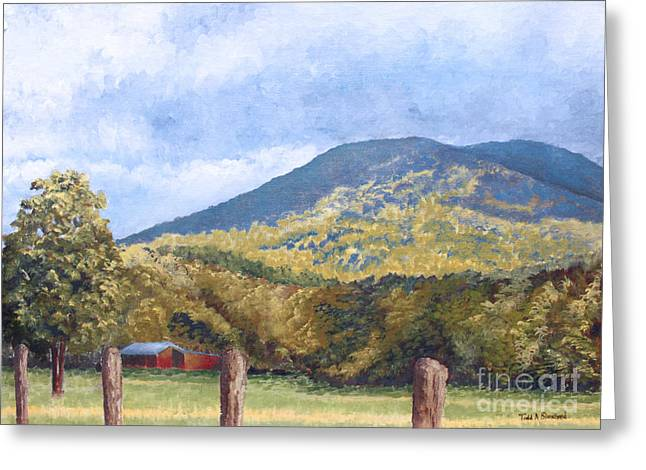 Tn Paintings Greeting Cards - Horse Barn at Cades Cove Greeting Card by Todd A Blanchard