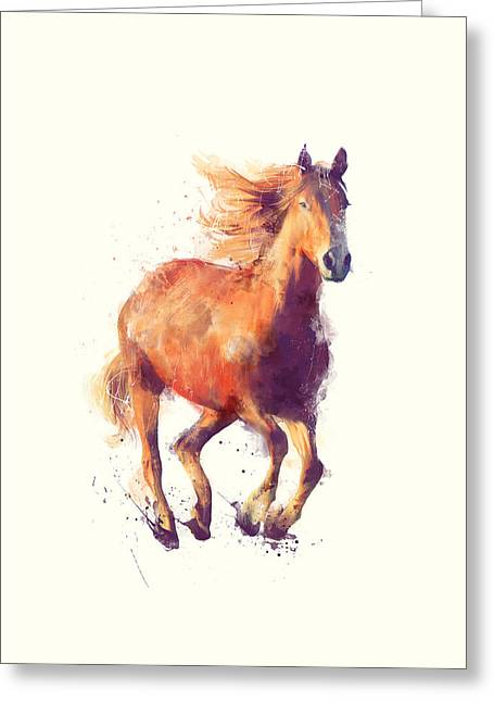 Wild Horses Mixed Media Greeting Cards - Horse // Boundless Greeting Card by Amy Hamilton