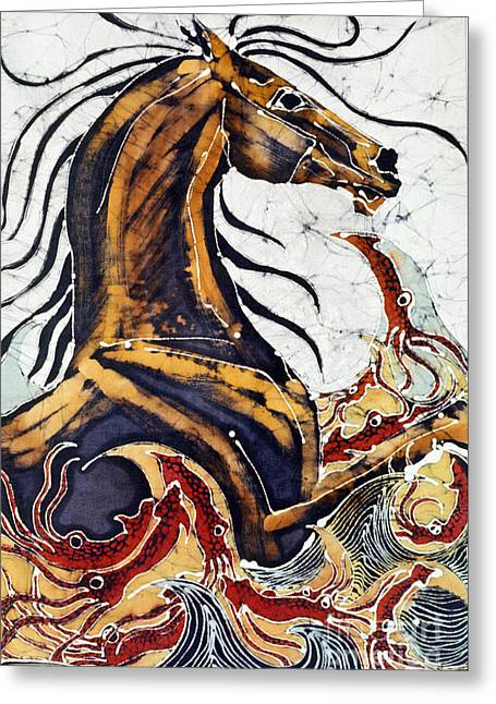 Wave Tapestries - Textiles Greeting Cards - Horse Dances in Sea with Squid Greeting Card by Carol Law Conklin