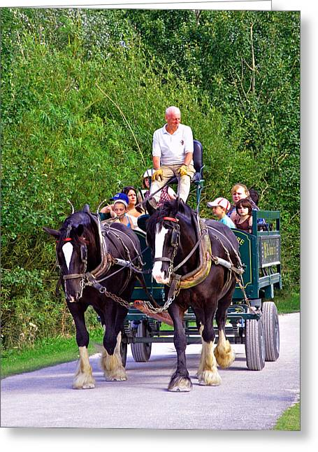 Best Sellers -  - Horse And Cart Greeting Cards - Horse-drawn Cart - Carsington Water Greeting Card by Rod Johnson