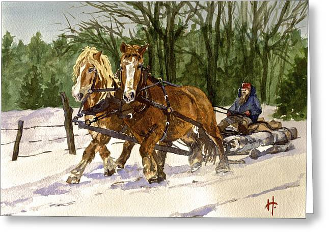 New England Snow Scene Greeting Cards - Horse Drawn Sleigh Greeting Card by Holly Young