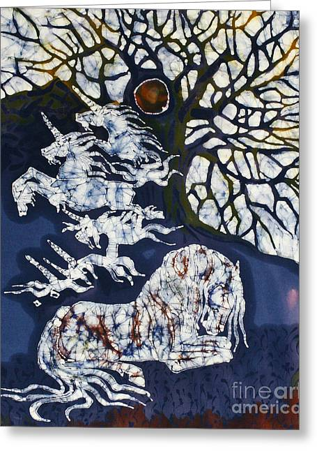 Earth Tapestries - Textiles Greeting Cards - Horse Dreaming Below Trees Greeting Card by Carol  Law Conklin